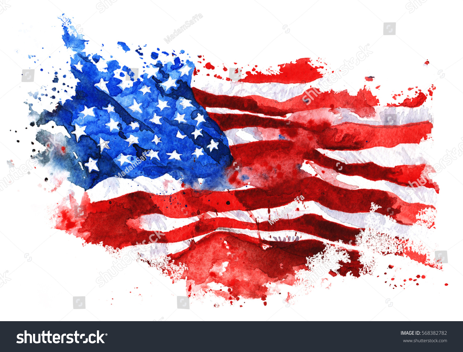 flag america handdrawn watercolor on white stock illustration