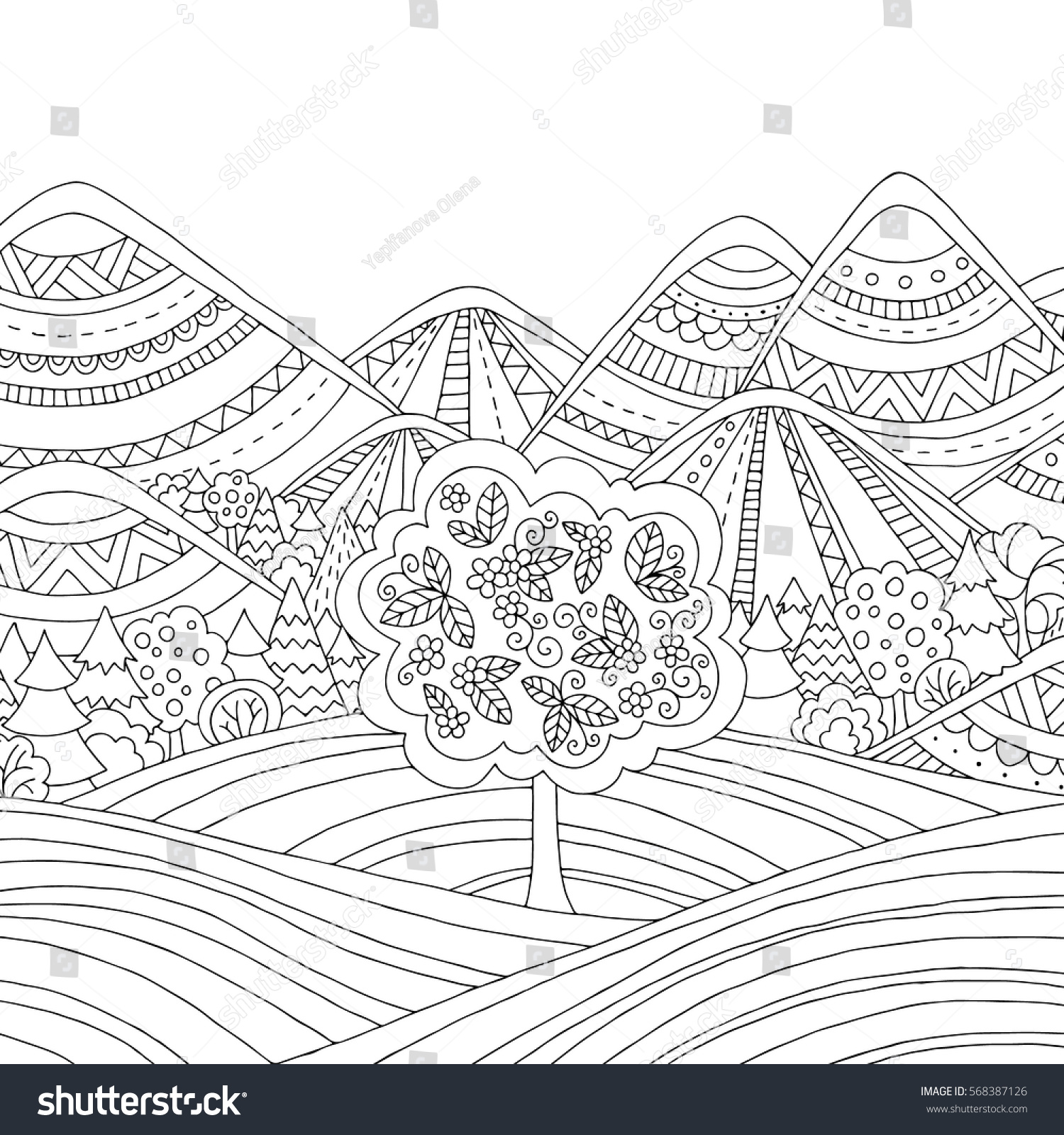 Printable Coloring Page Adults Mountain Landscape Stock Vector ...