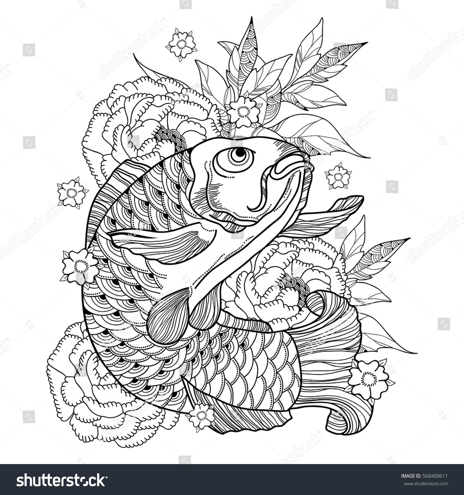 vector illustration with hand drawn outline koi carp and chrysanthemum or dahlia in black isolated on