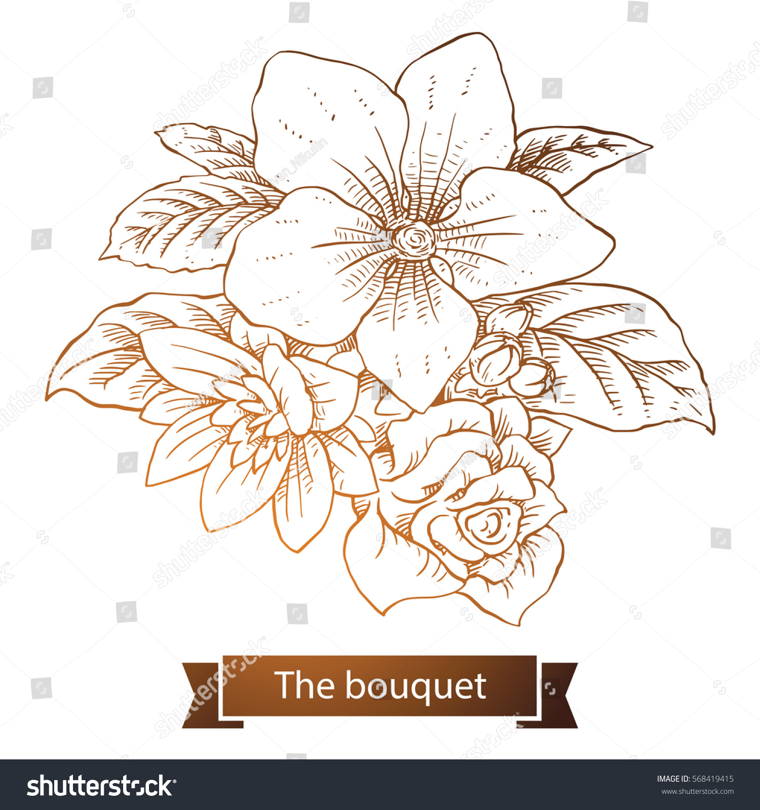 Vector Image Beautiful Bouquet Different Types Stock Vector Royalty