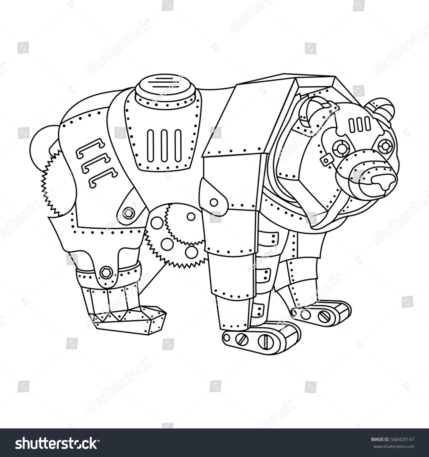 Steampunk Style Bear Mechanical Animal Coloring Book Vector Illustration