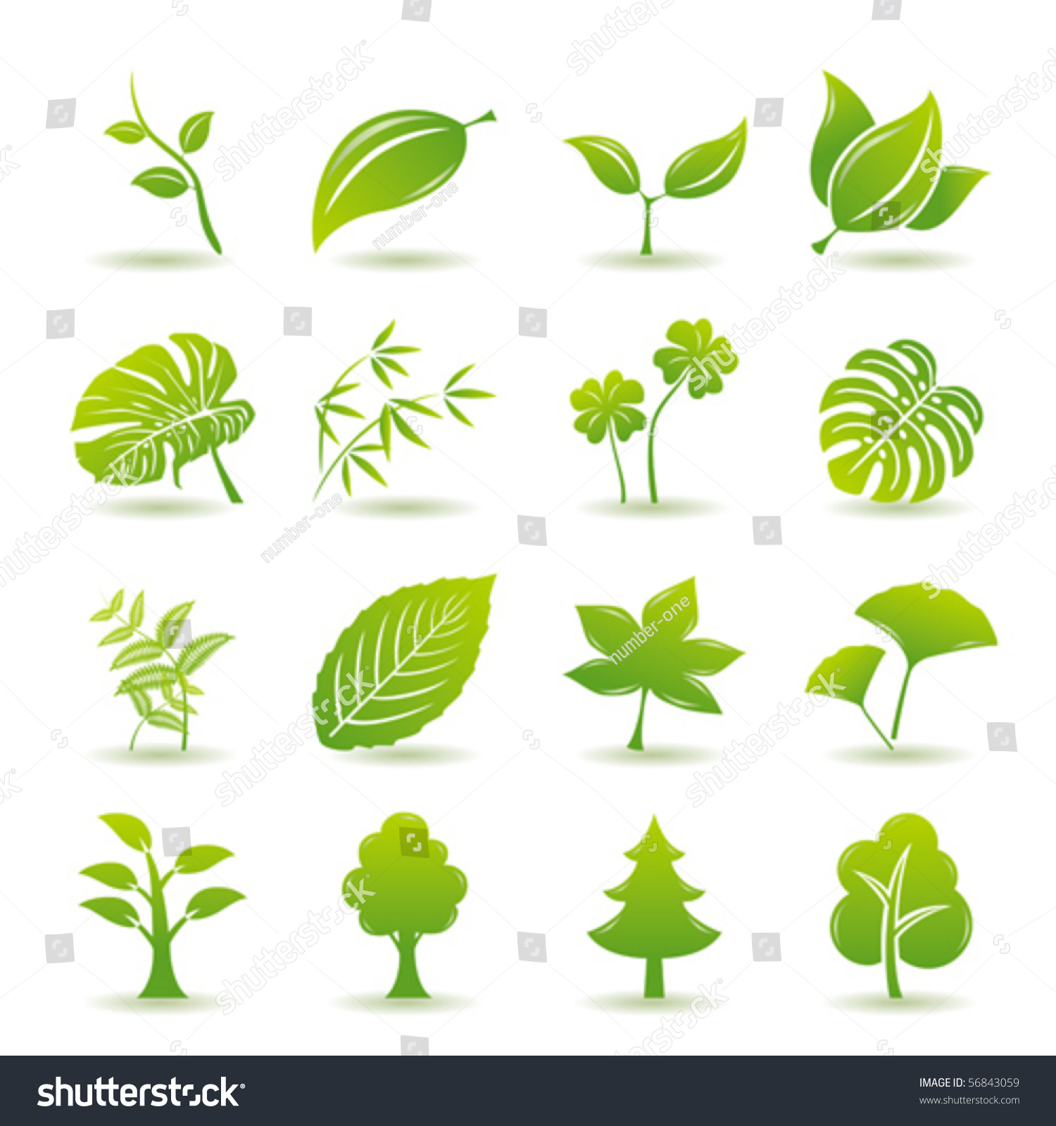 Nature Ecology: Green Leaf Icons Set Nature Ecology Stock Vector 56843059