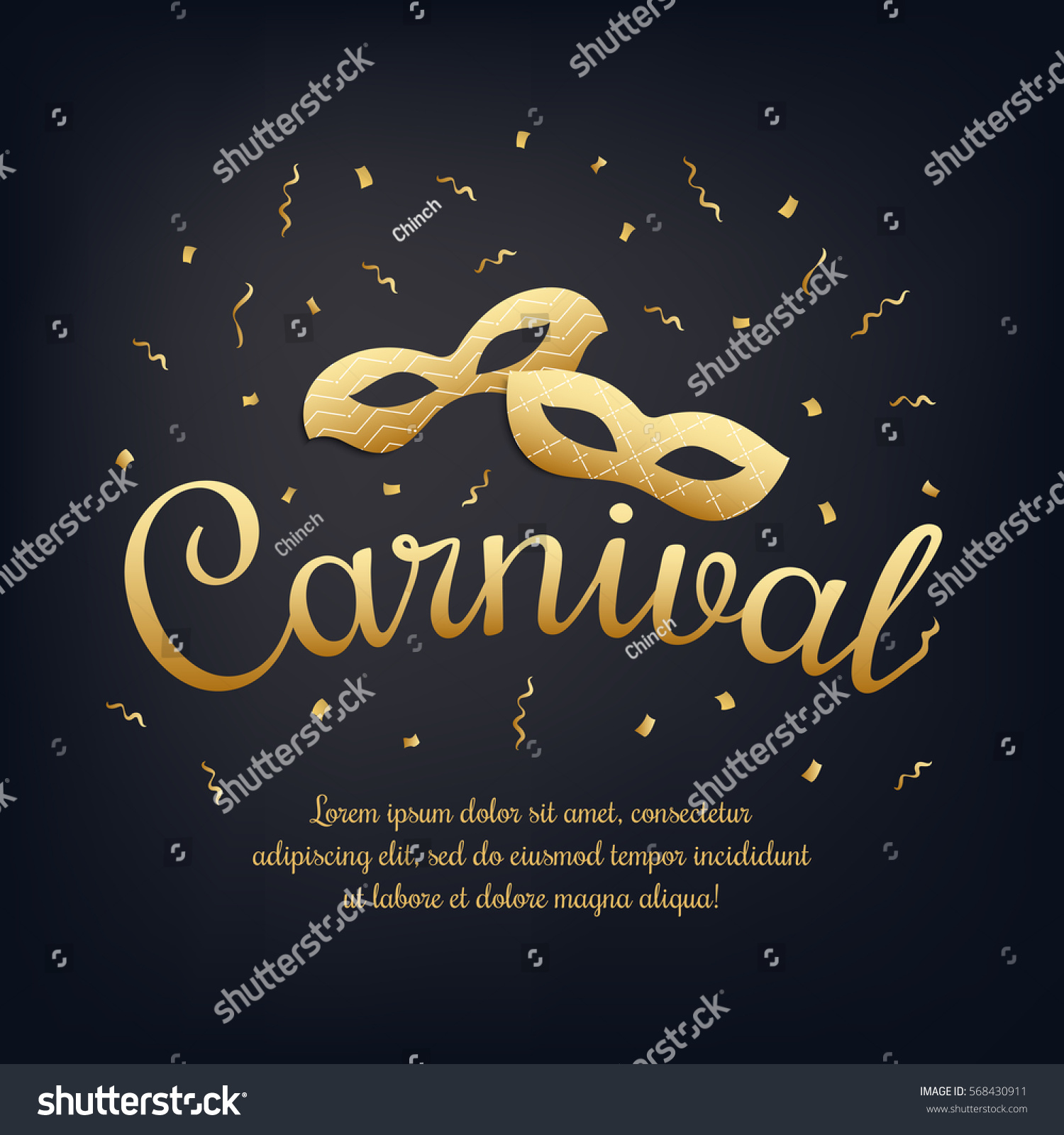 Gold Lettering Carnival Masquerade Masks On Stock Vector 568430911 ...
