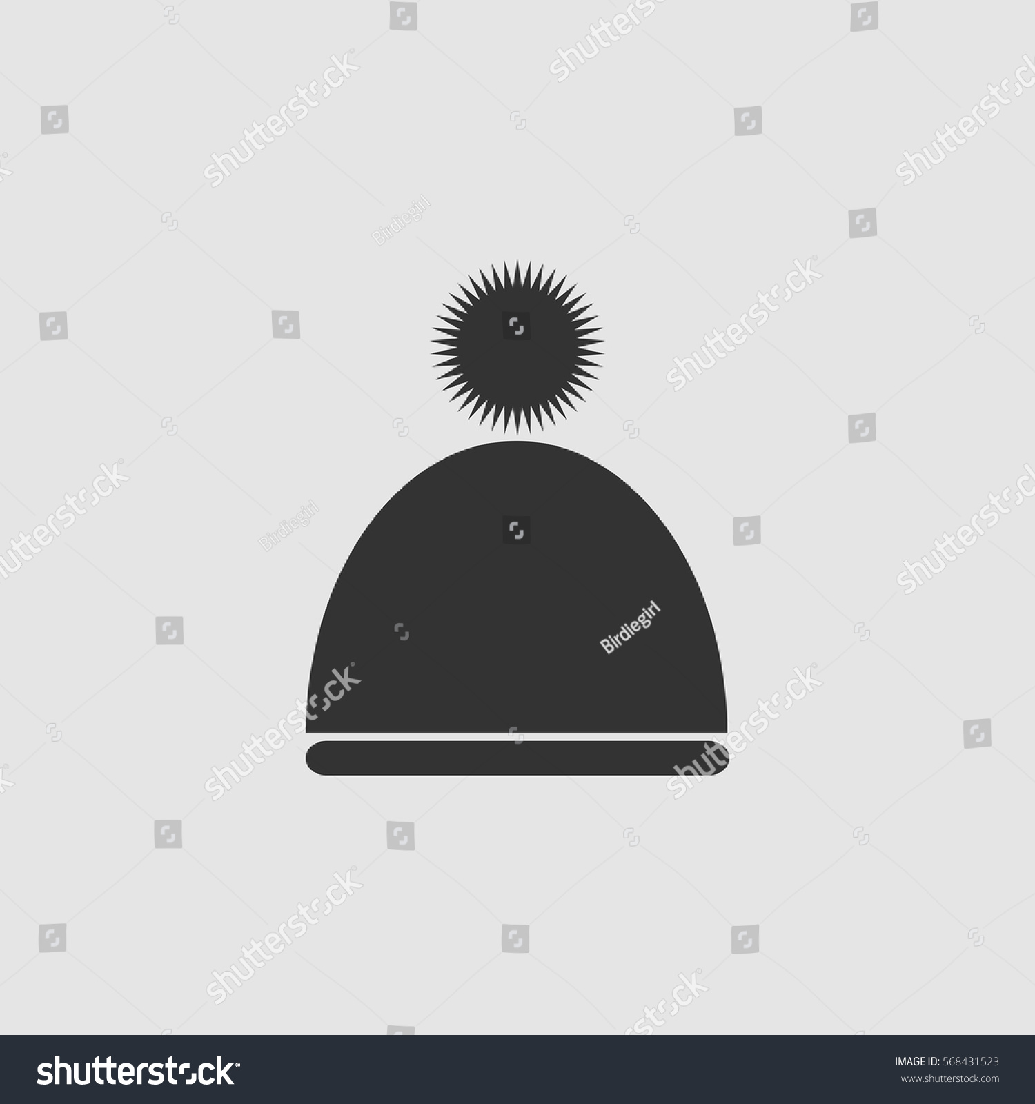 9a31417dcb0 Winter snowboard cap icon flat. Black pictogram on grey background. Vector  illustration symbol - Vector