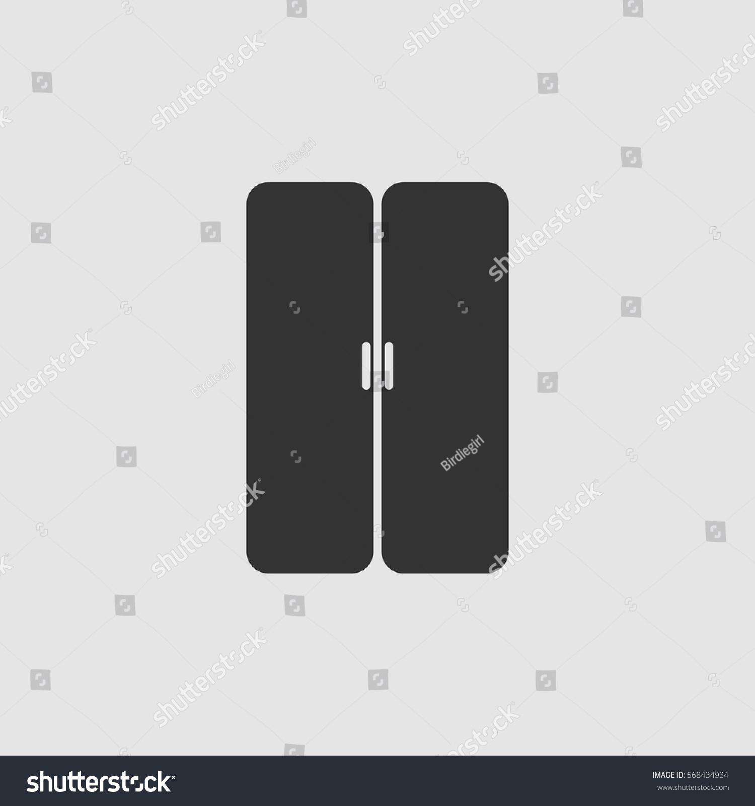 Double Door Icon Flat Black Pictogram Stock Vector 568434934