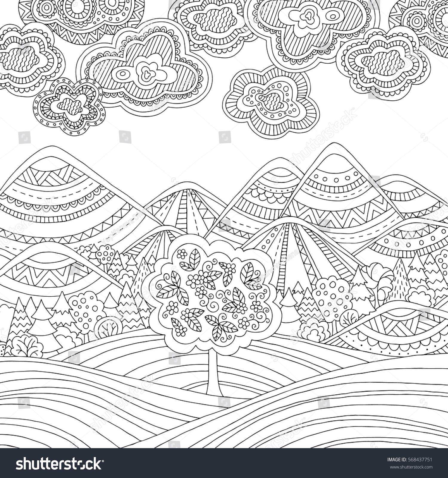 printable coloring page adults mountain landscape stock vector