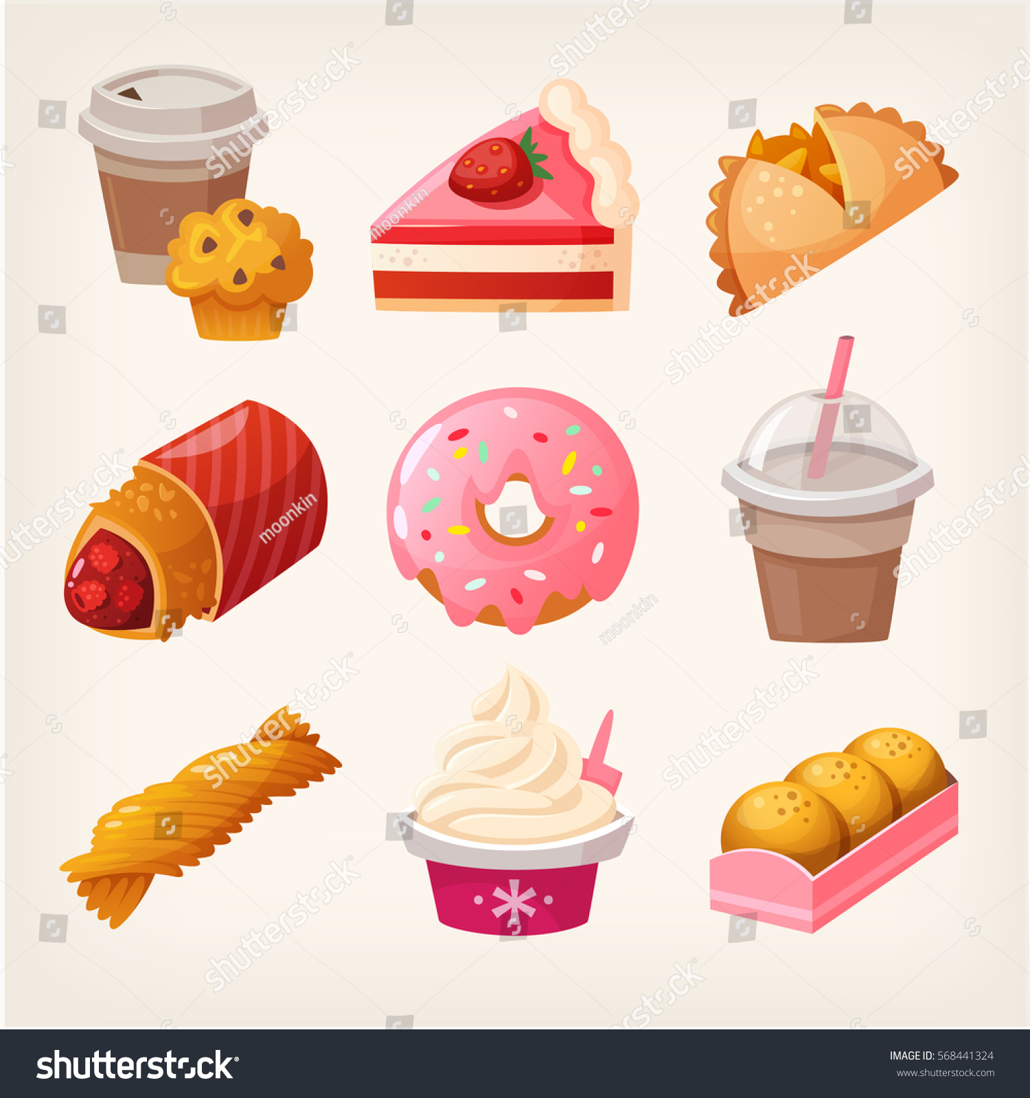 Set Colorful Fast Food Desserts Sweets Stock Vector Royalty Free