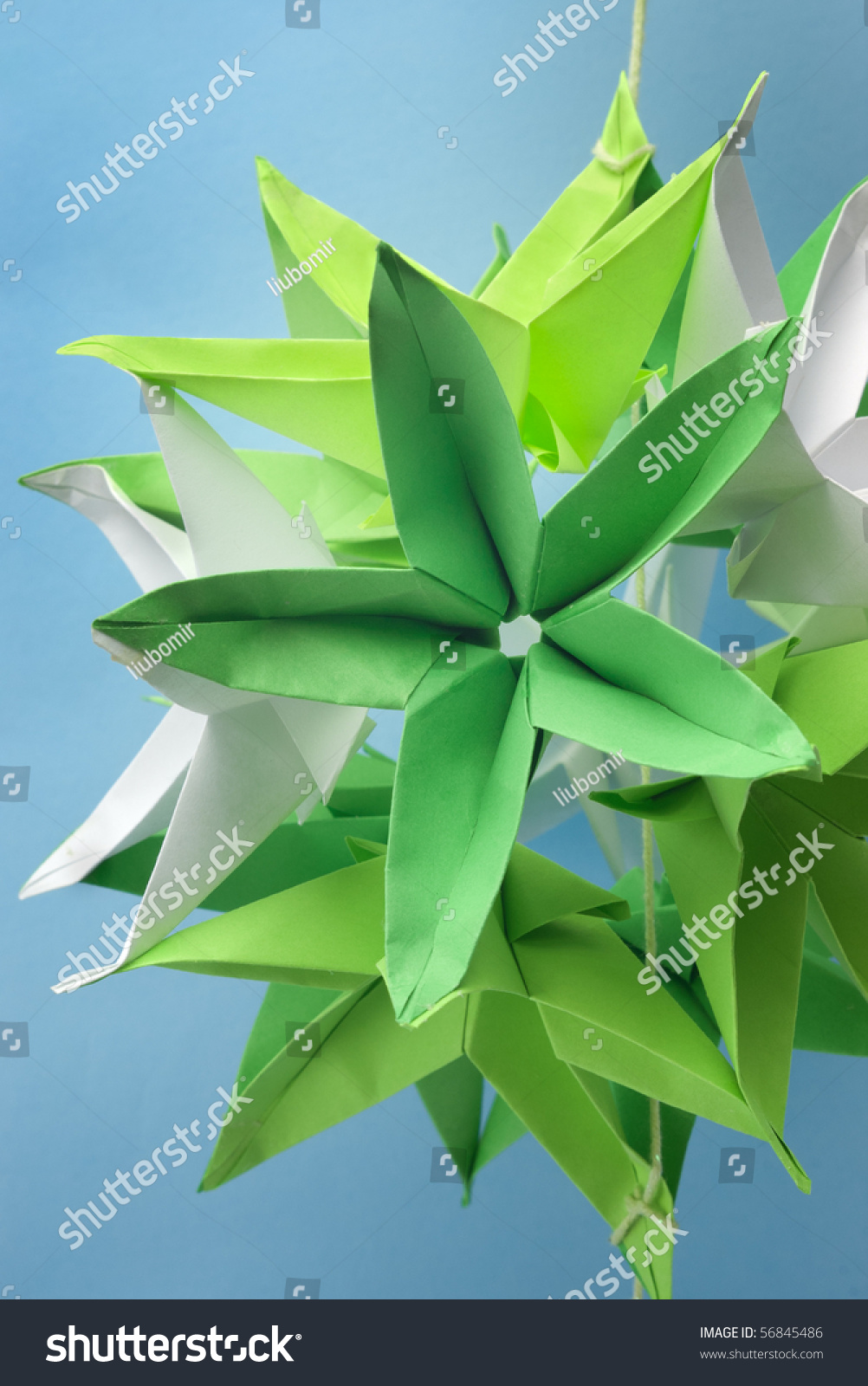 Closeup Big Green Origami Star Flowers Stock Photo Edit Now