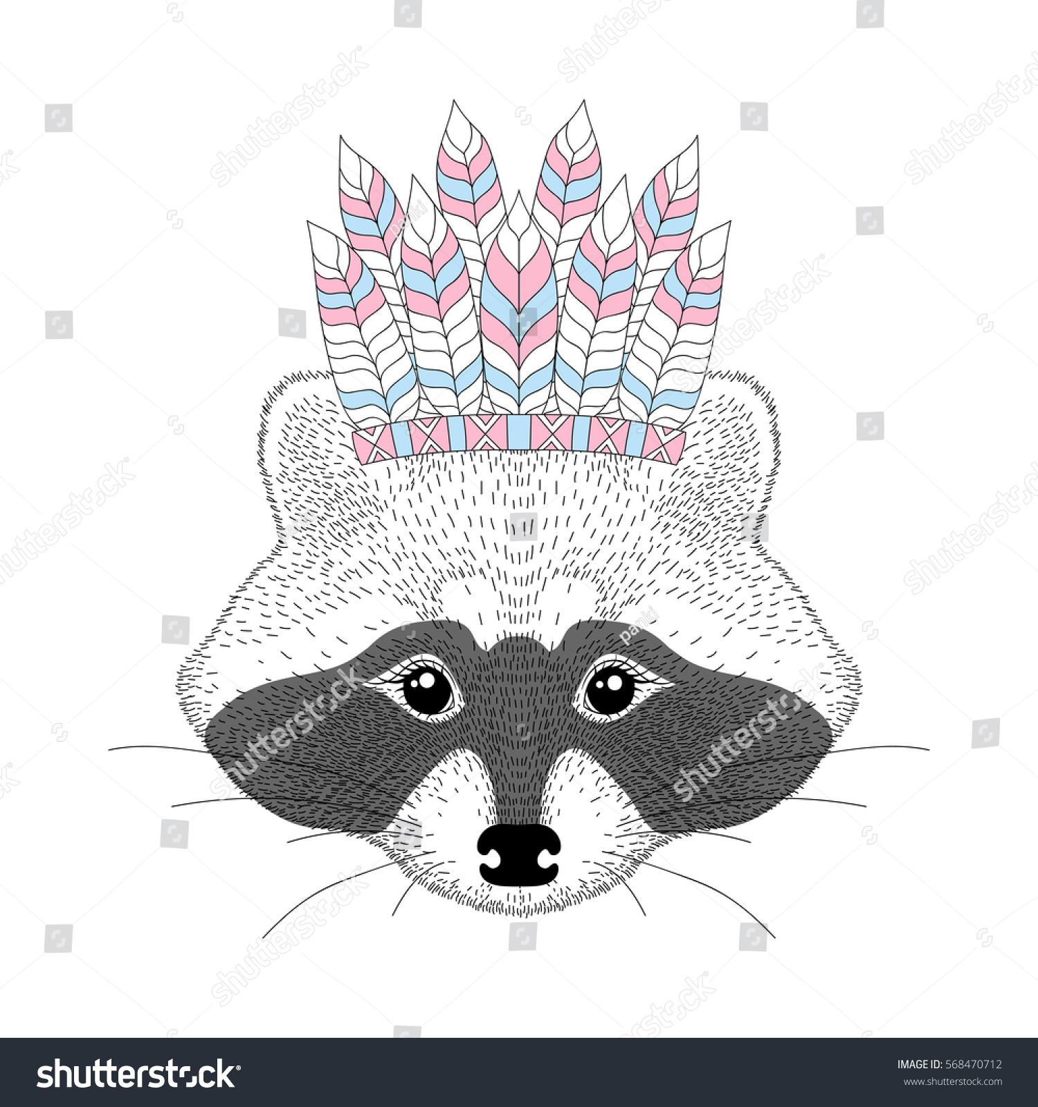 cute raccoon war bonnet on head stock vector 568470712 shutterstock