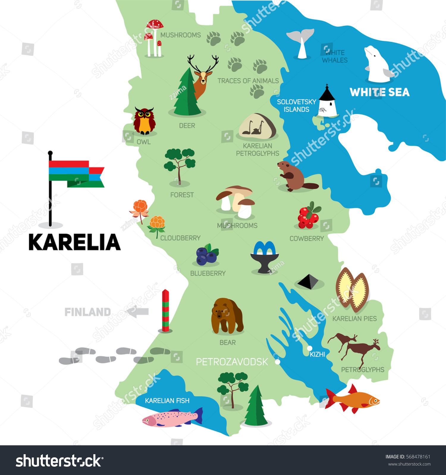 Map Karelia Handdrawn Illustration Symbols Tourist Stock Vector