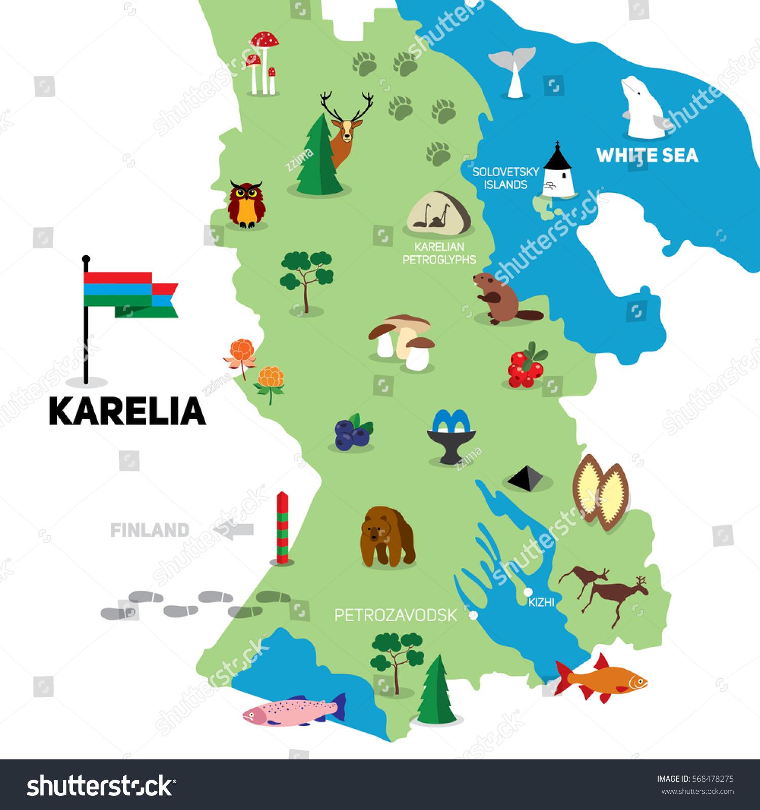 Hand Drawn Illustration Karelian Map Travel Stock Vector Royalty