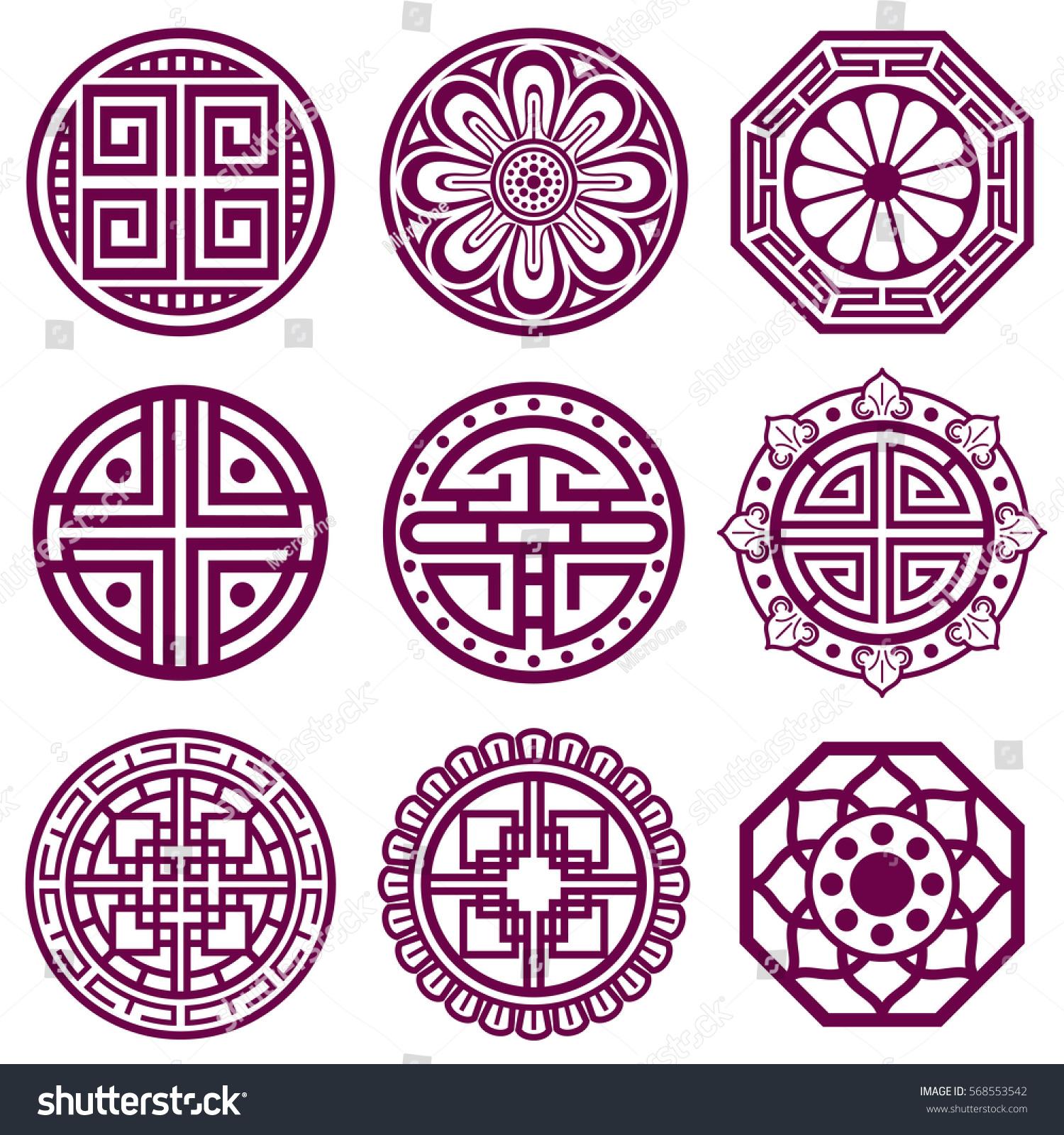 Korean Ornament Asian Traditional Vector Symbols Stock Vector
