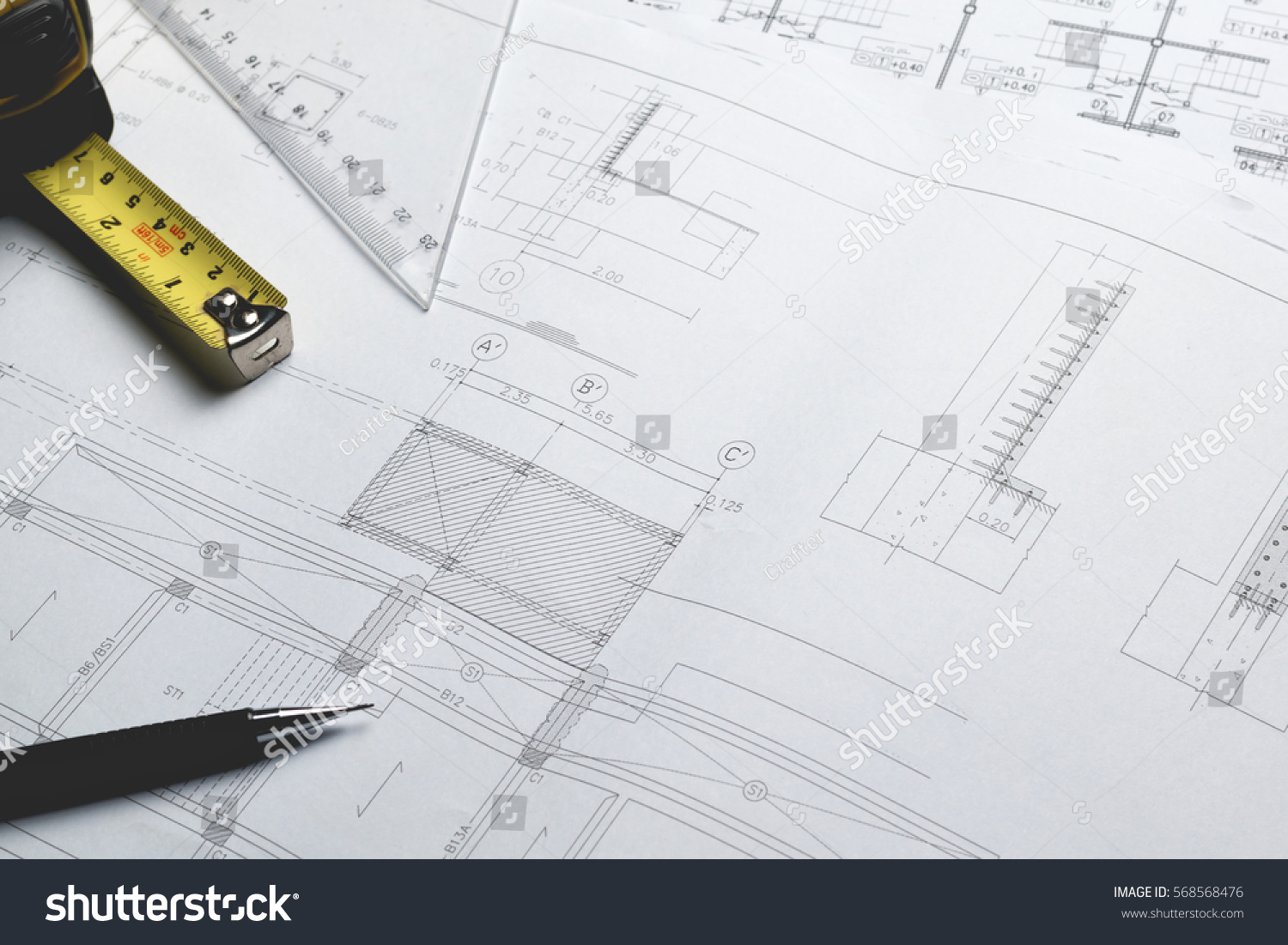 Engineering diagram blueprint paper drafting project stock for Paper for architectural drawings