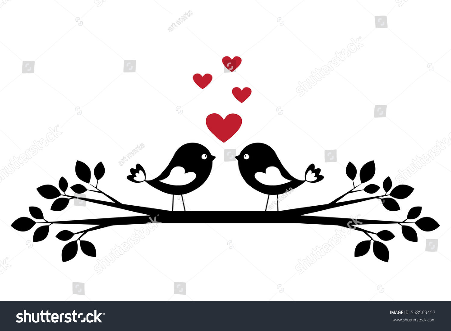 Silhouette Cute Birds Love Stylish Card Stock-Vektorgrafik ...