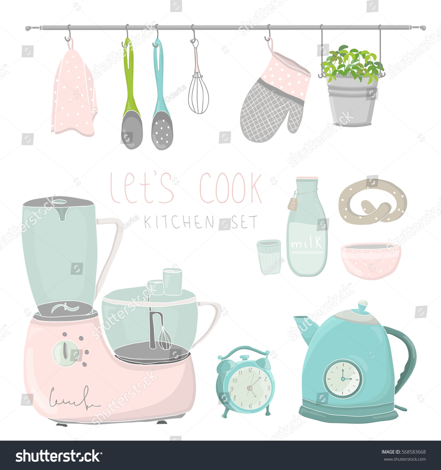 Kitchen Utensils Cute Vector Illustration With Tools Blender Electric Kettle Dishes