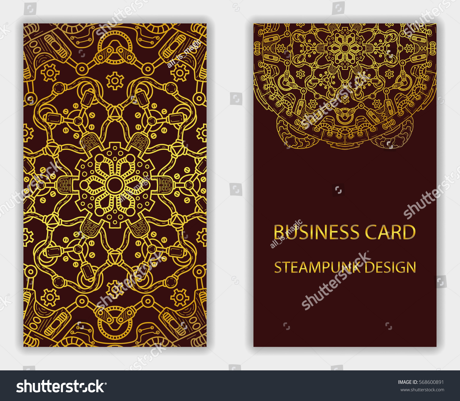 business card steampunk abstract design elements stock