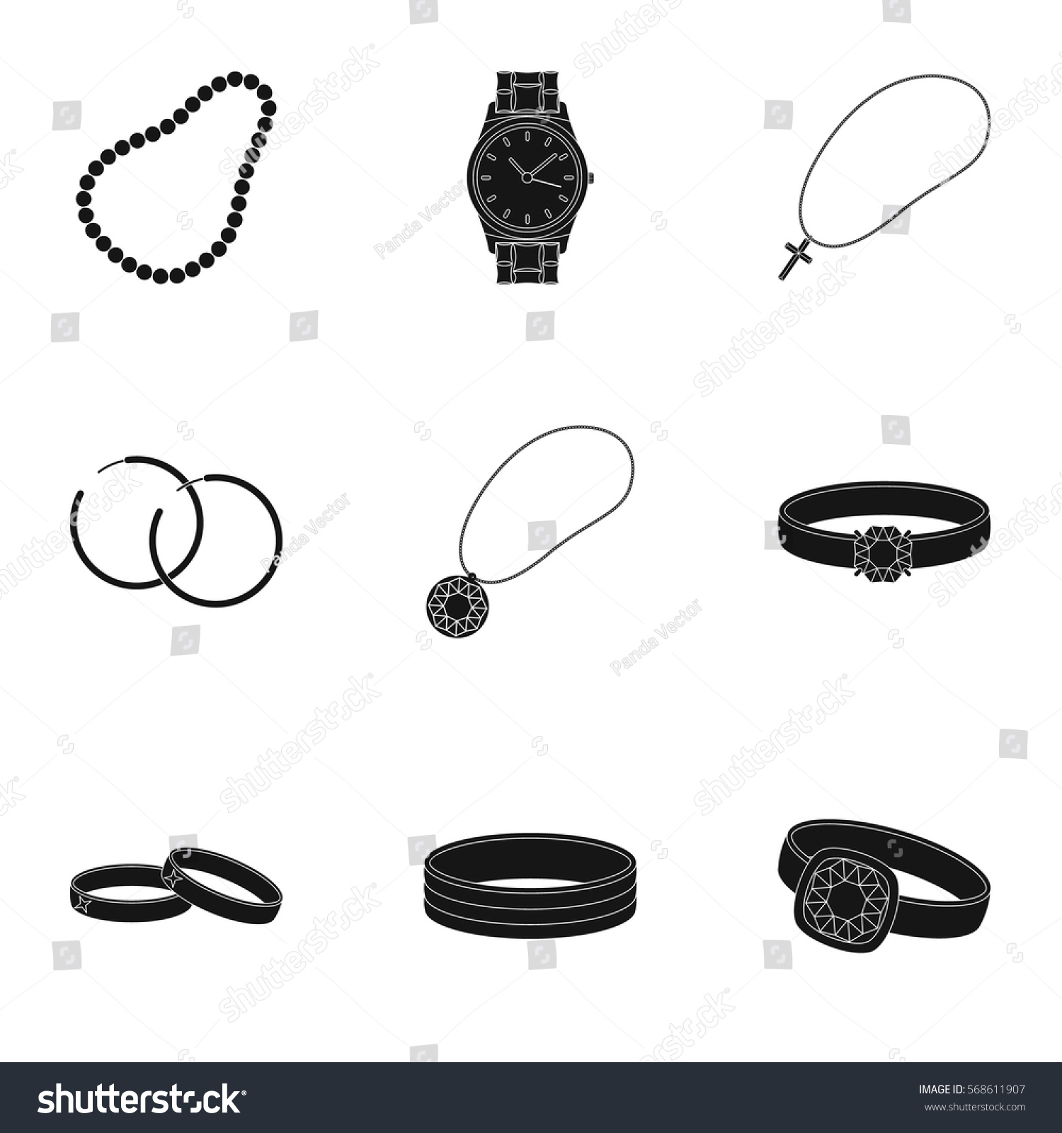 Jewelry and accessories set icons in black style Big collection of