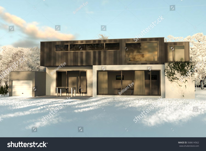 3d Rendering Modern House Garden Covered Stock Illustration .
