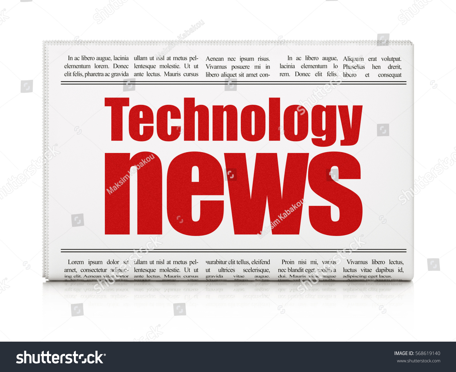 news concept newspaper headline technology news on white background