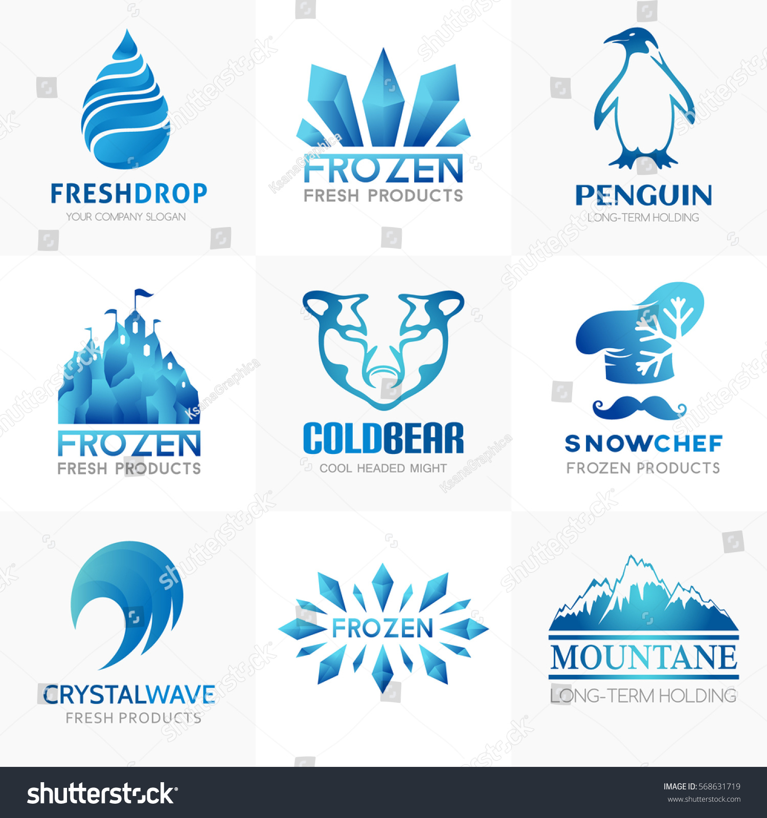 Frozen Products Logo Collection Conceptual Symbols Stock Vector Hd