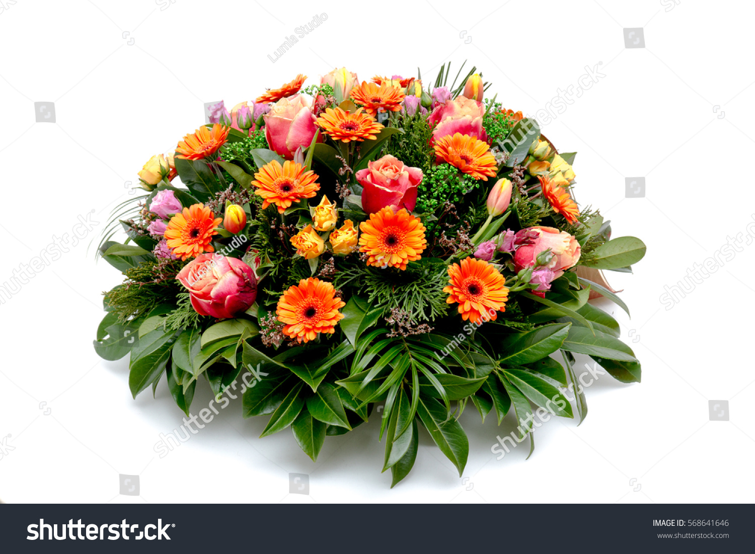 Funeral Flower Wreath Ikebana Isolated On A White Background Ez Canvas