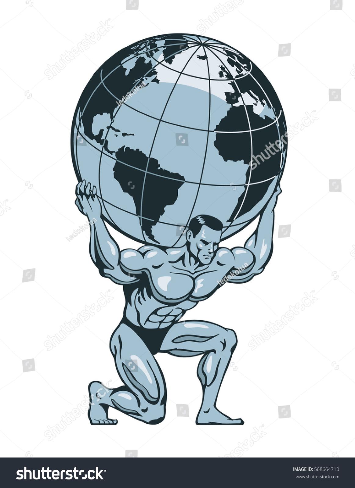 atlas titan kneeling carrying lifting globe stock vector royalty