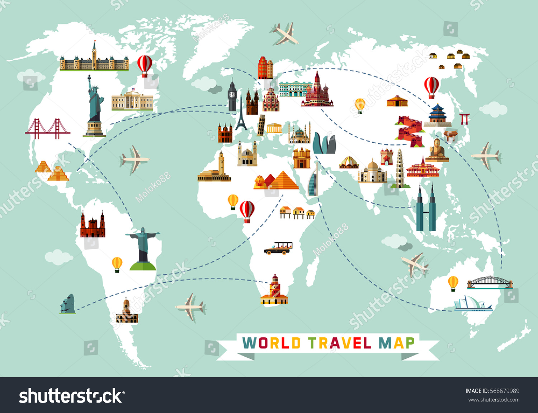 world travel map vector illustration. world travel map vector illustration stock vector