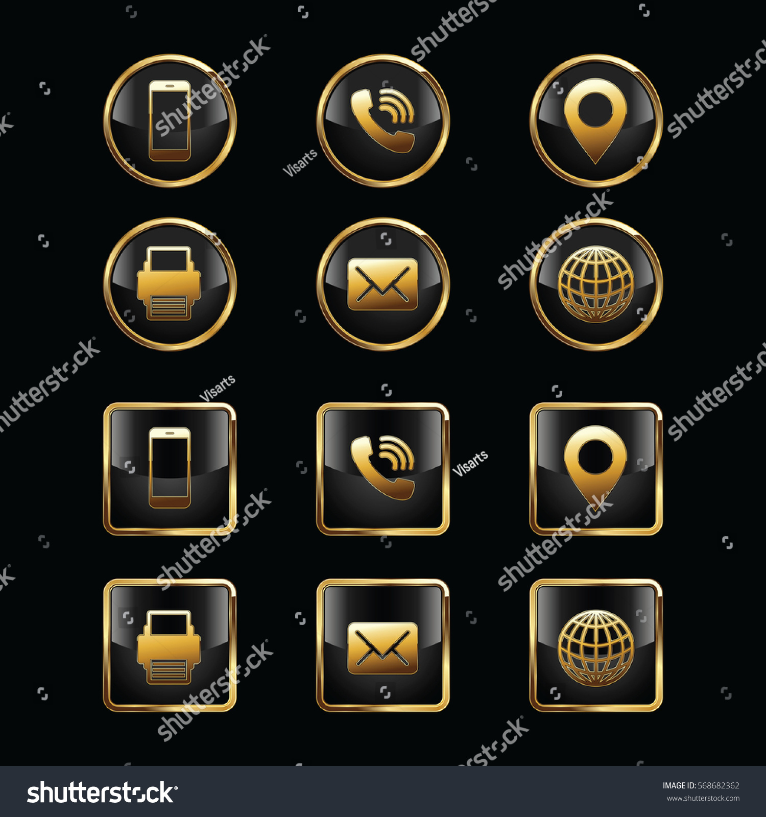 Business Card Icon Set Web Icons Stock Vector (2018) 568682362 ...