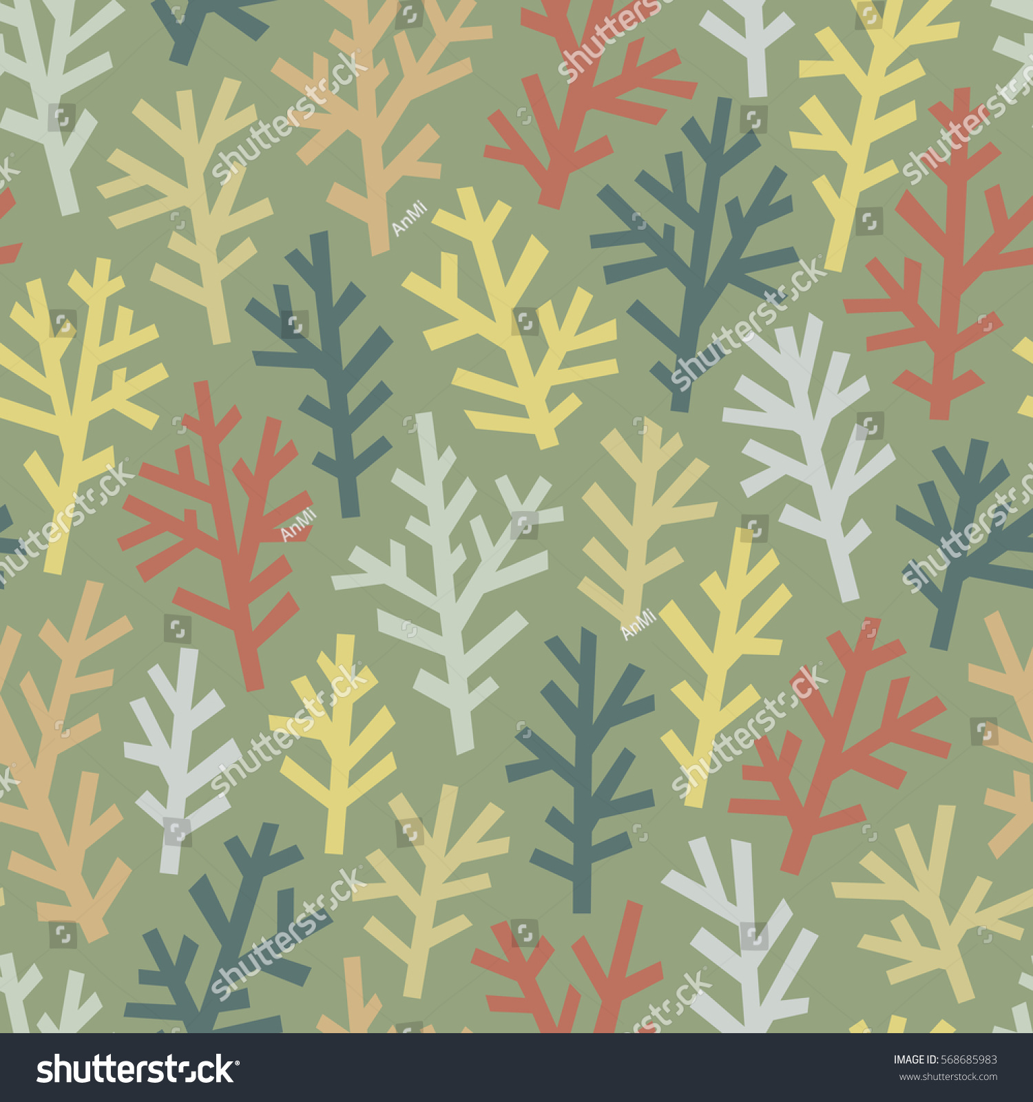 Seamless Pattern Abstract Multicolored Trees On Stock Vector ...