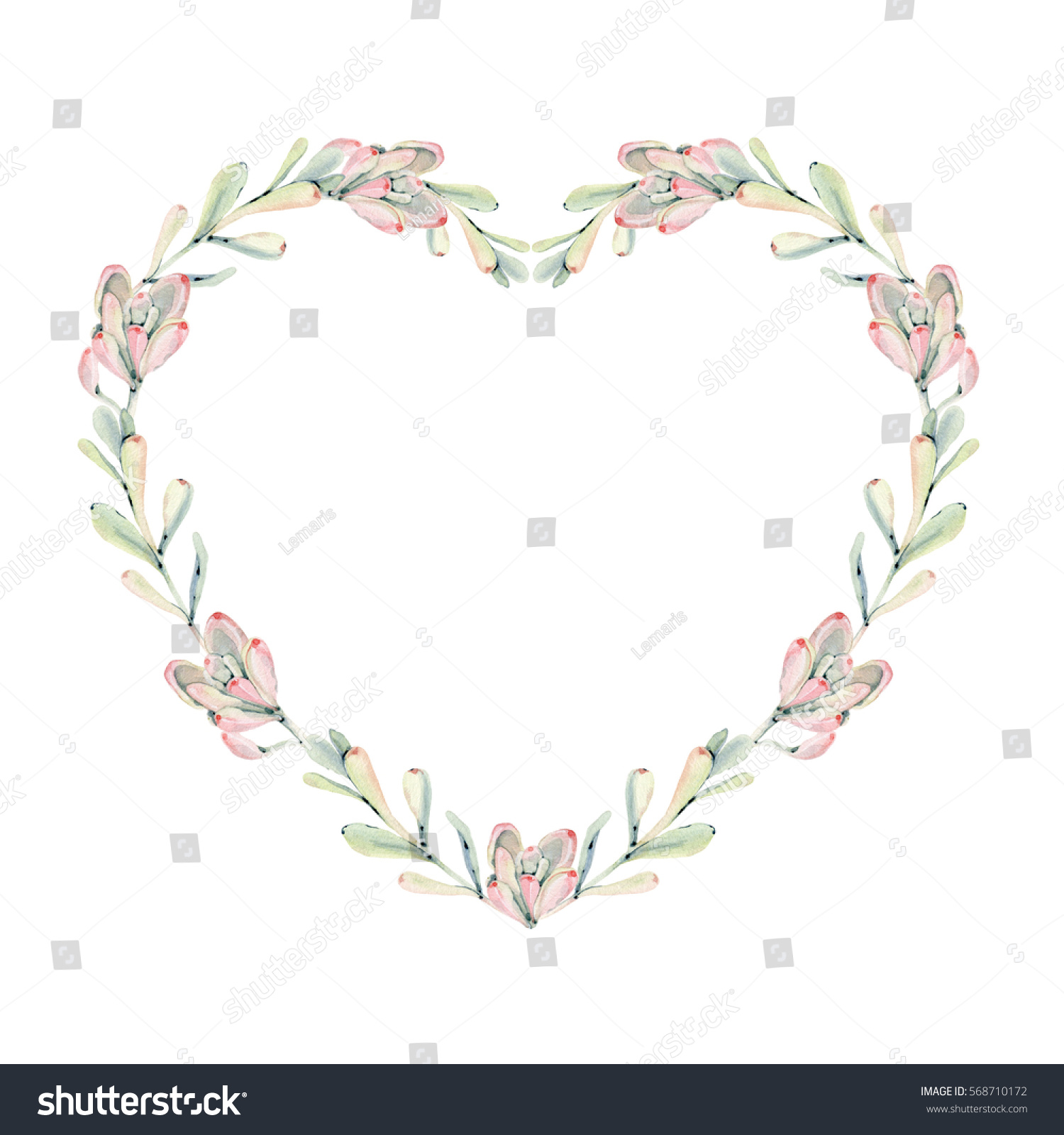 stock photo elegant watercolor heart frame it can be used for wedding cards and invitations mothers day and 568710172