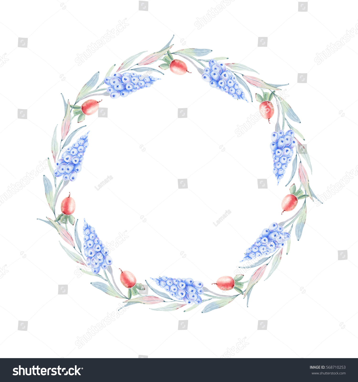 Elegant Watercolor Flowers Circle Frame Can Stock Illustration ...