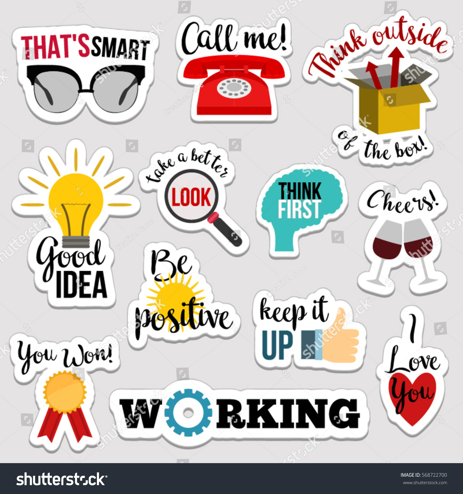 Set of flat design social network stickers with notes. Vector illustrations for online communication, networking, social media, chat, web design, mobile message, marketing material. #568722700