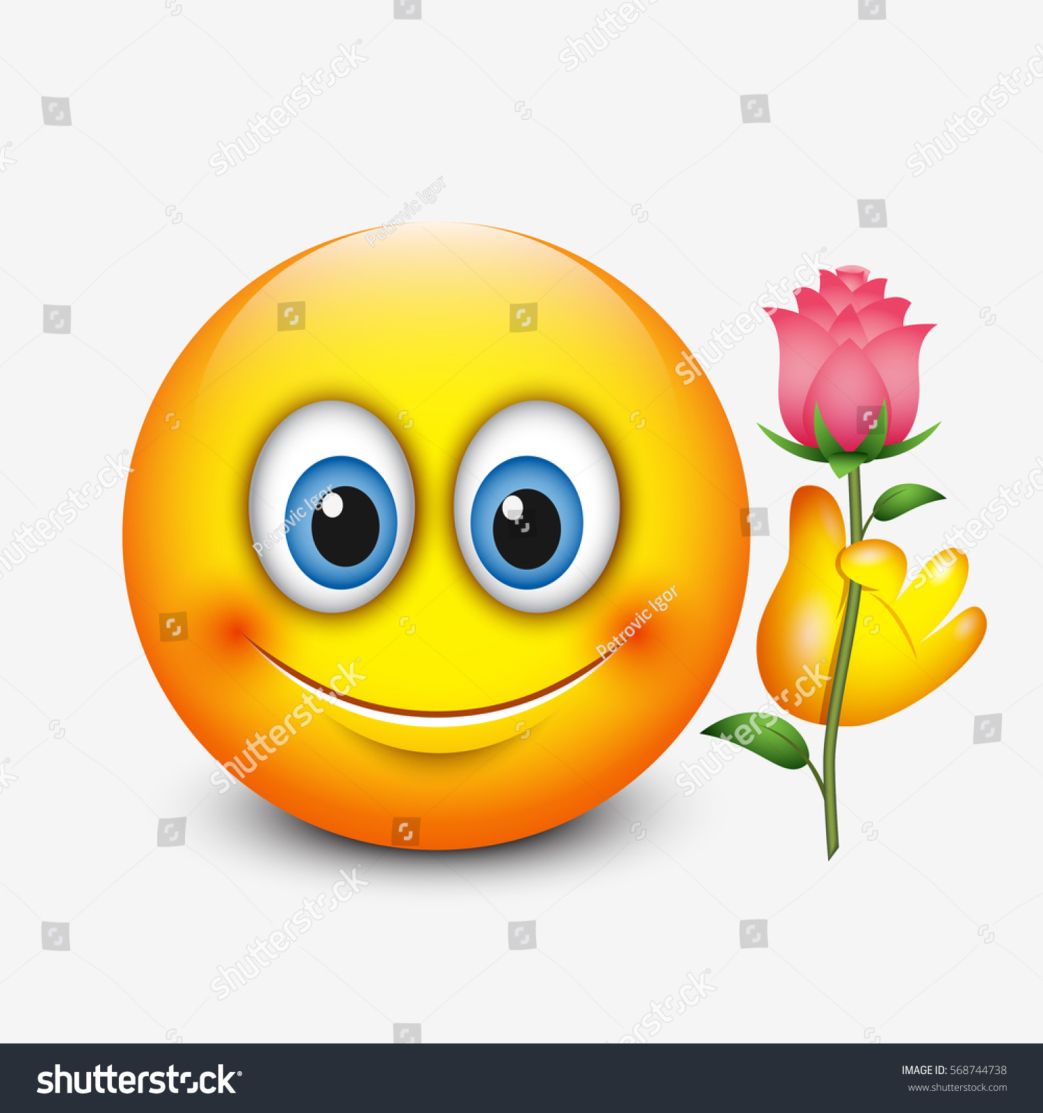 Cute Emoticon Holding Rose Saint Valentines Stock Vector Royalty