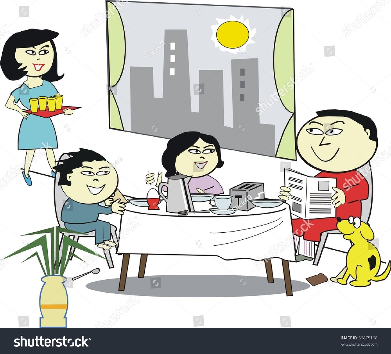 Eating Table Cartoon: Vector Cartoon Happy Asian Family Sitting Stock Vector
