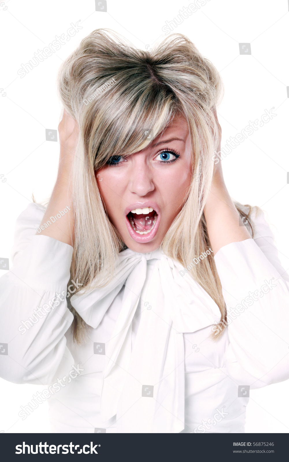 Grimace face clip art stock photo woman pulls a face in upset - Very Frustrated And Angry Mad Woman Hands In Her Hair Pulling Isolated On White Background