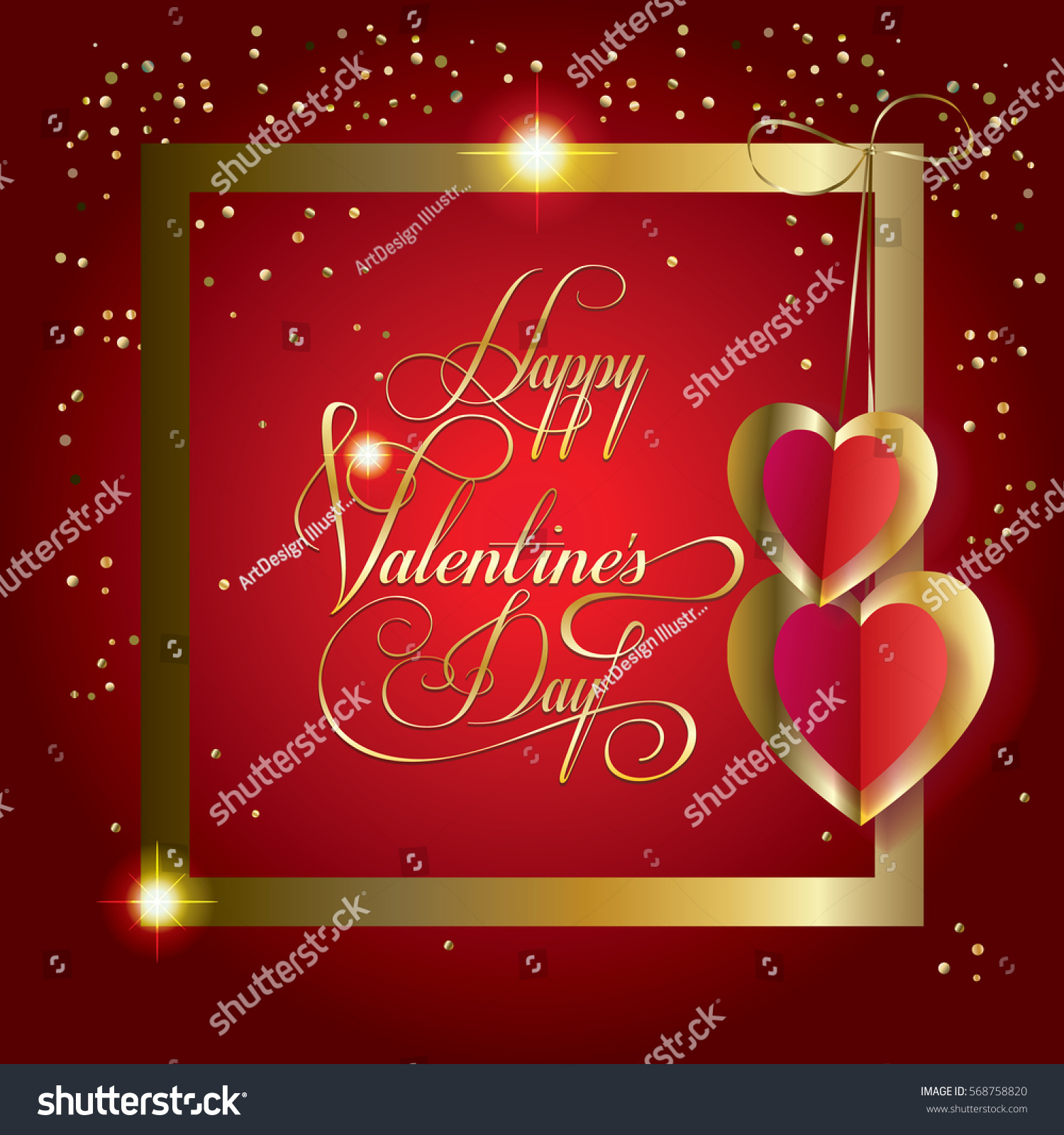 Happy Valentines Day Greeting Card Vector Stock Vector Royalty Free