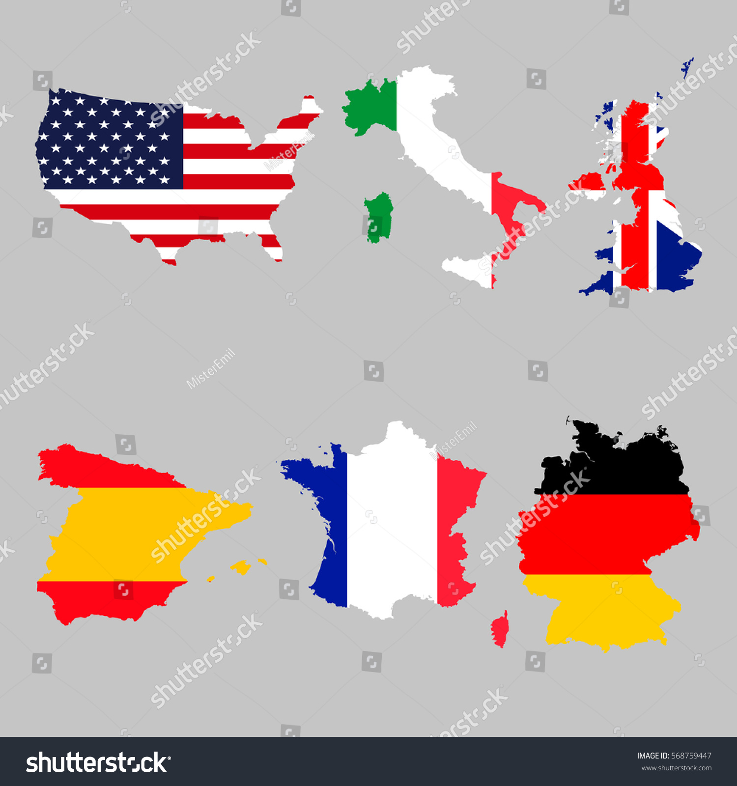 Set map flags usa italy united vector de stock568759447 shutterstock set of map flags usa italy united kingdom spain france germany gumiabroncs Choice Image