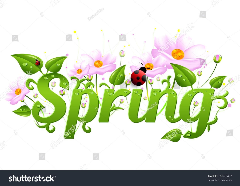 Spring Card Wishes Beginning Spring Word Stock Illustration