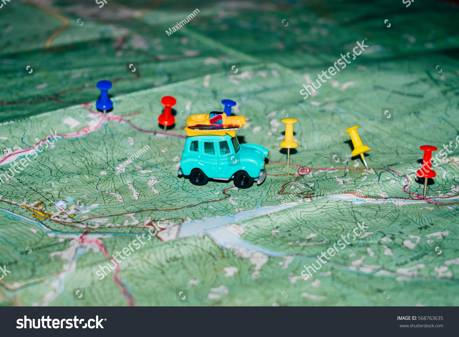 Toy Old Car Rides On Topographic Stock Photo (Royalty Free ...
