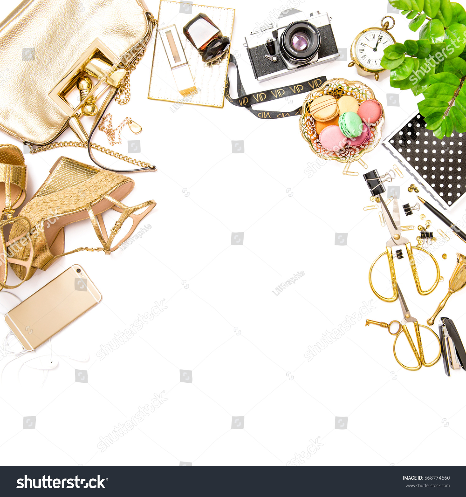 Fashion Flat Lay For Web Site Social Media. Feminine Accessories, Bag,  Shoes, Part 59