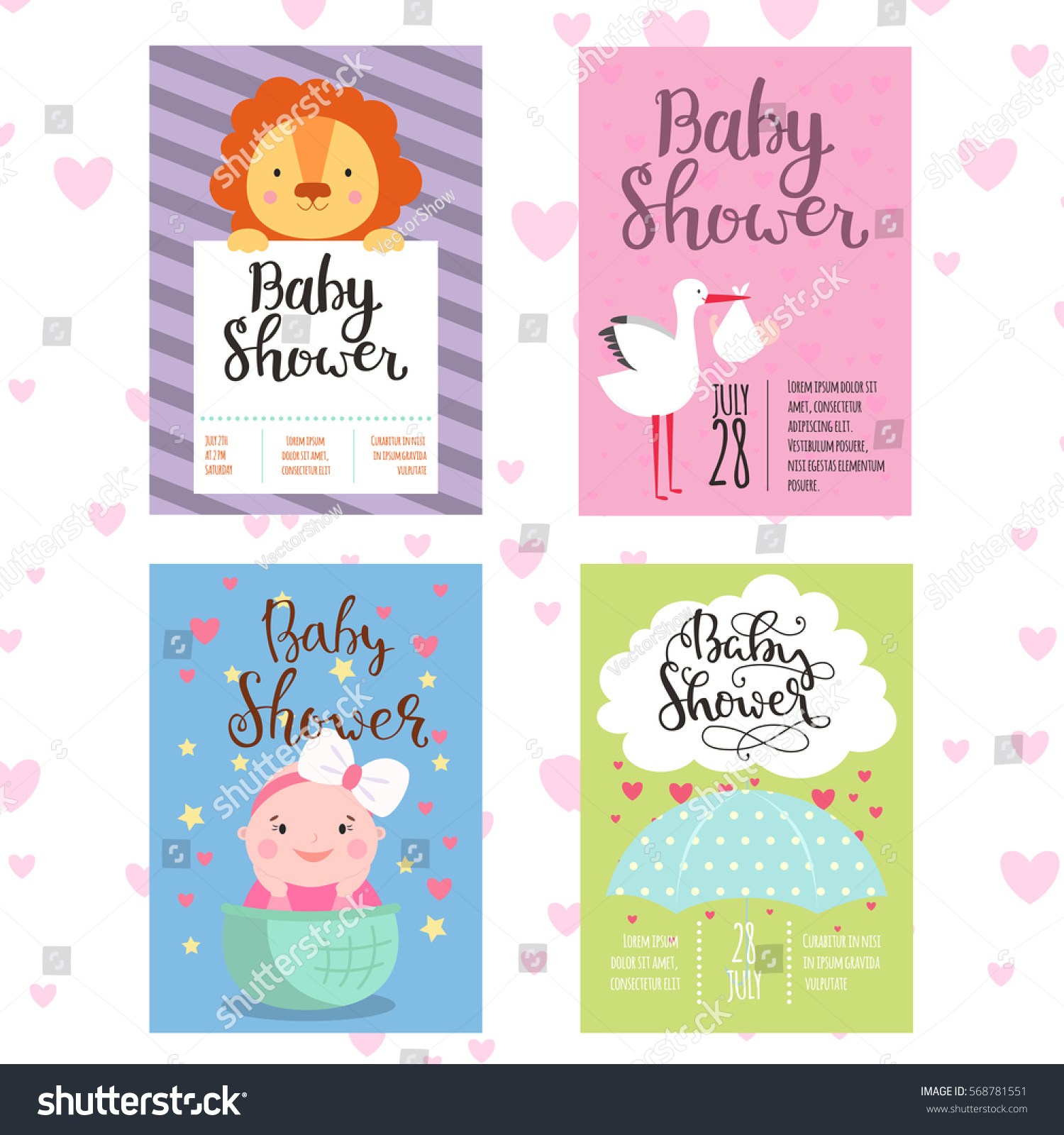 Baby Shower Invitation Vector Card Stock Vector
