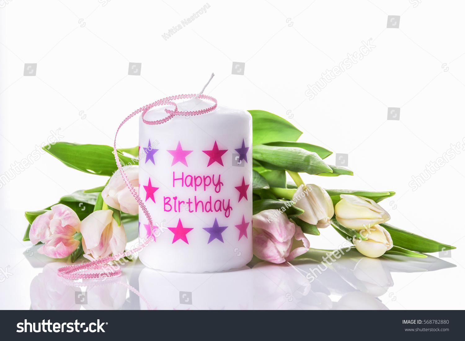 Happy Birthday Candle Tulips Stock Photo Royalty Free 568782880