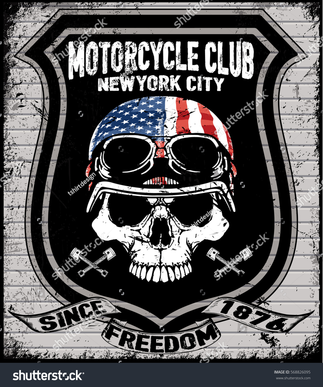 T Shirt Print With Hand Drawn Motorcycle On Dark Background And Grunge Texture: Skull T Shirt Graphic Design Motorcycle Stock Illustration