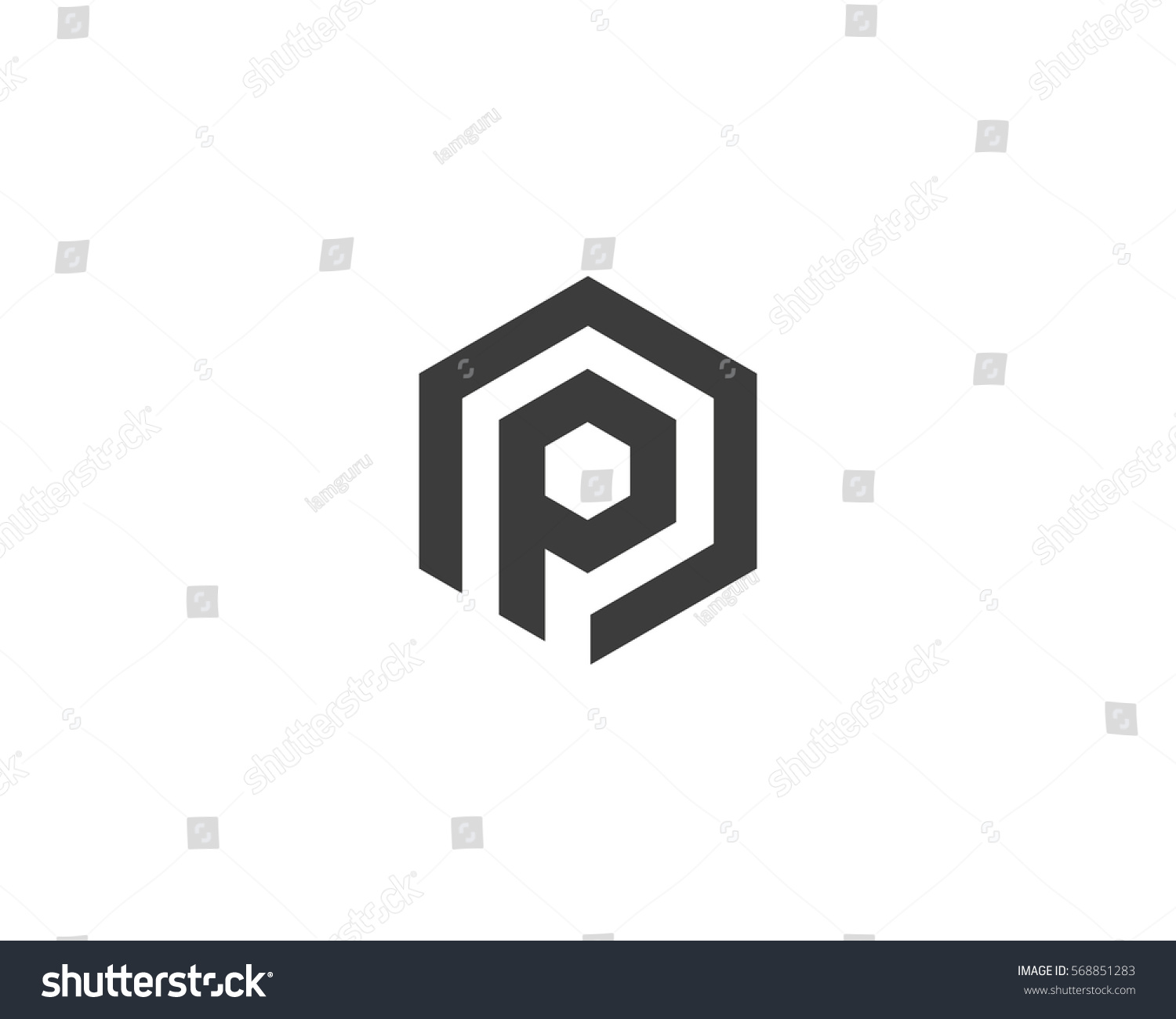 abstract letter p logotype line hexagonのイラスト素材 568851283