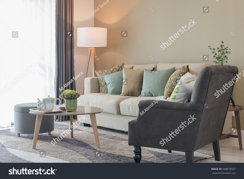 Modern Living Room Green Pillows On Stock Photo 568879327 Shutterstock