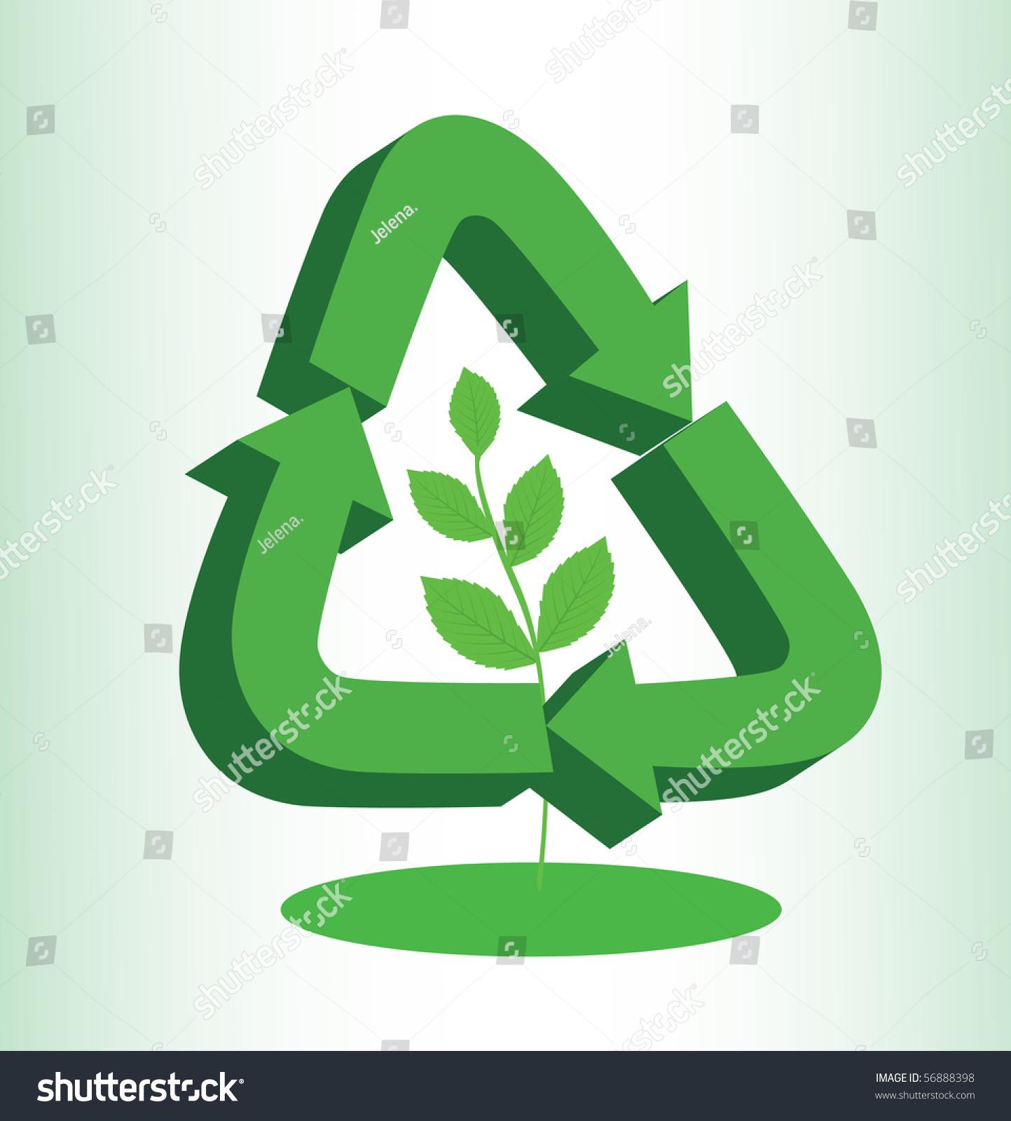 Recycle Sign Illustration Branch Leaves Inside Stock Illustration
