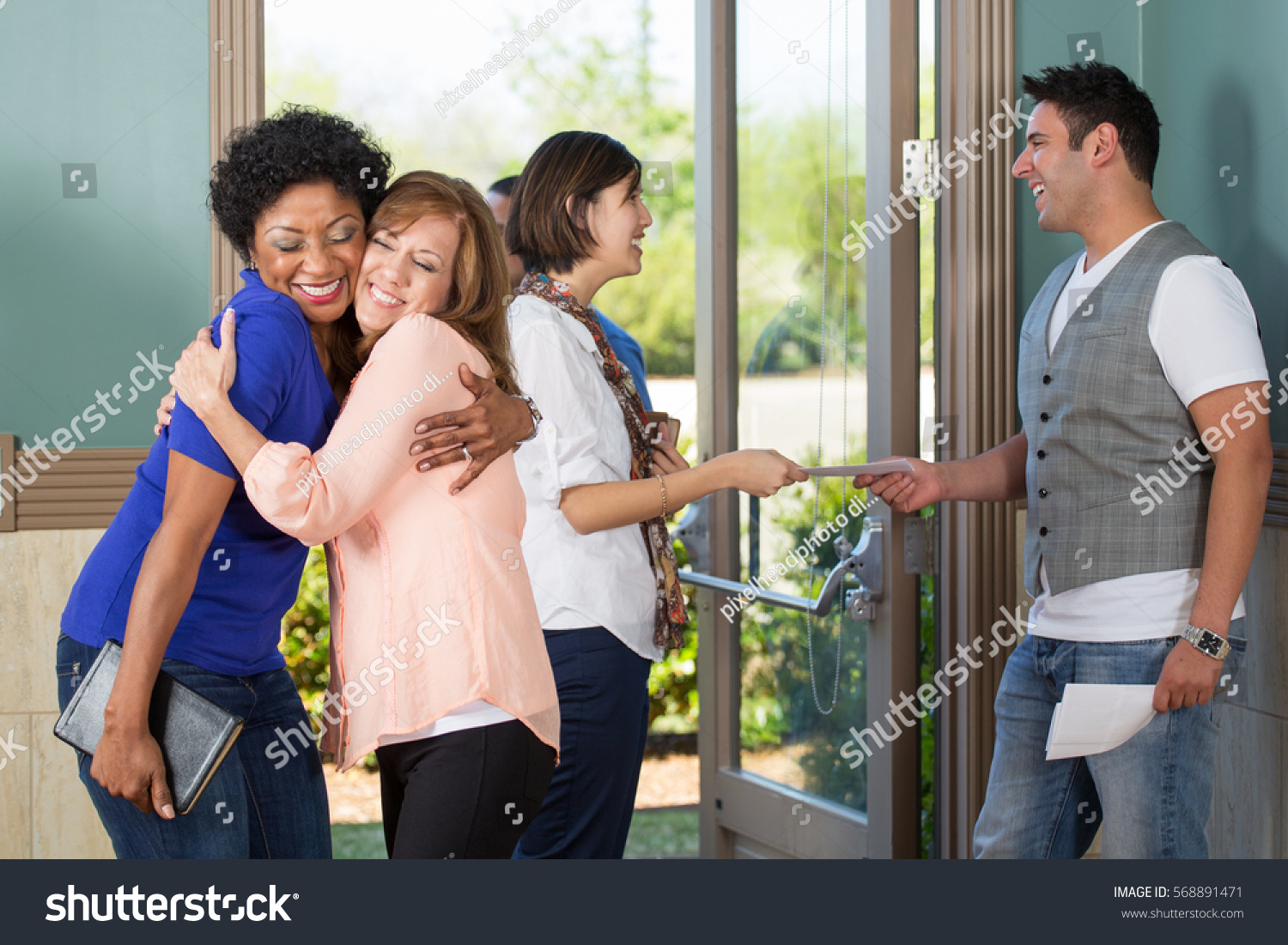 Friendly People Greeting Each Other Stock Photo Edit Now 568891471