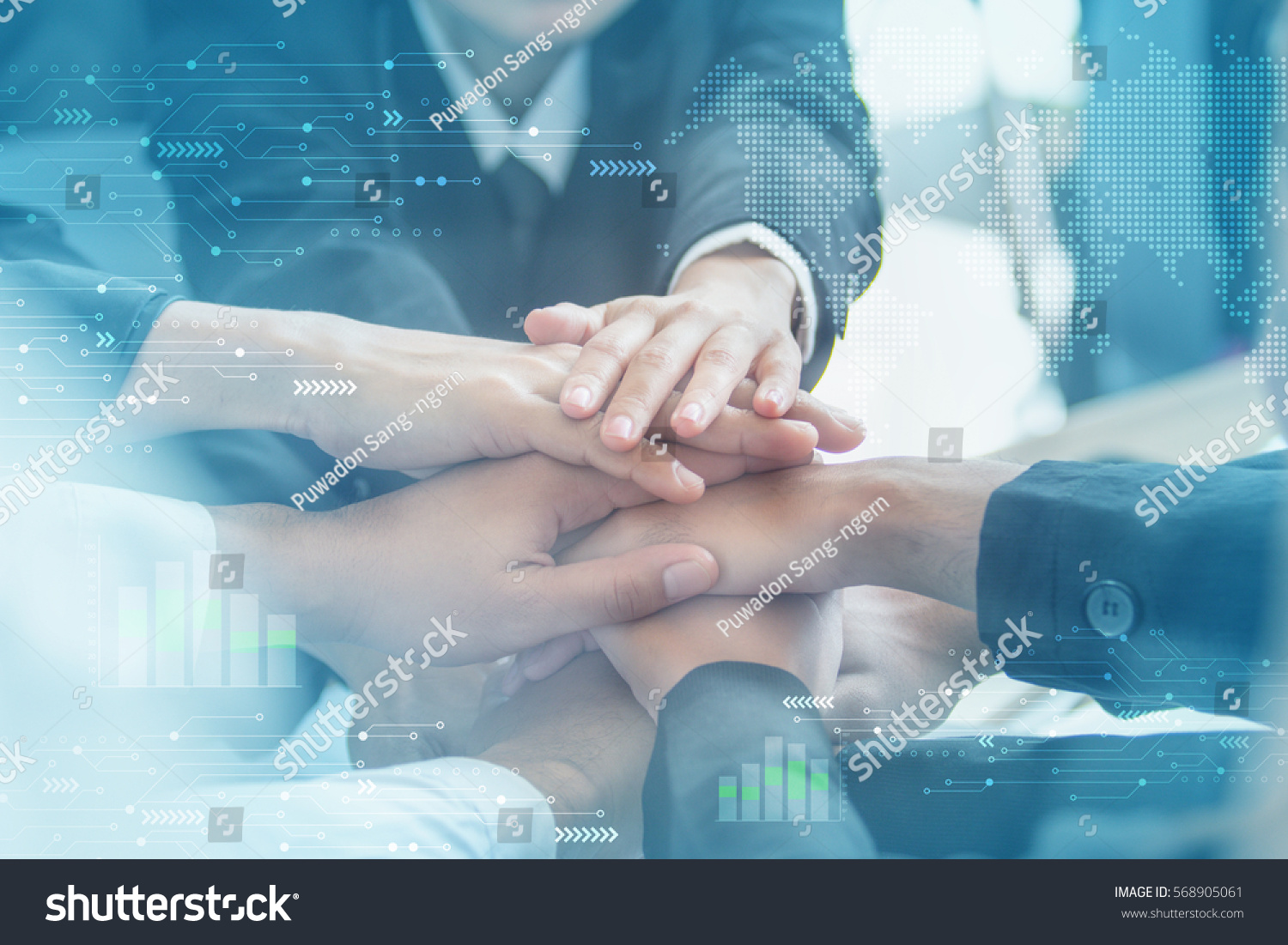 Concept of teamwork. business people joined hands #568905061
