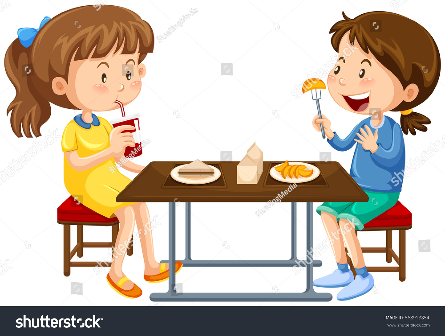 Two girls eating on picnic table stock vector 568913854 for Eating table