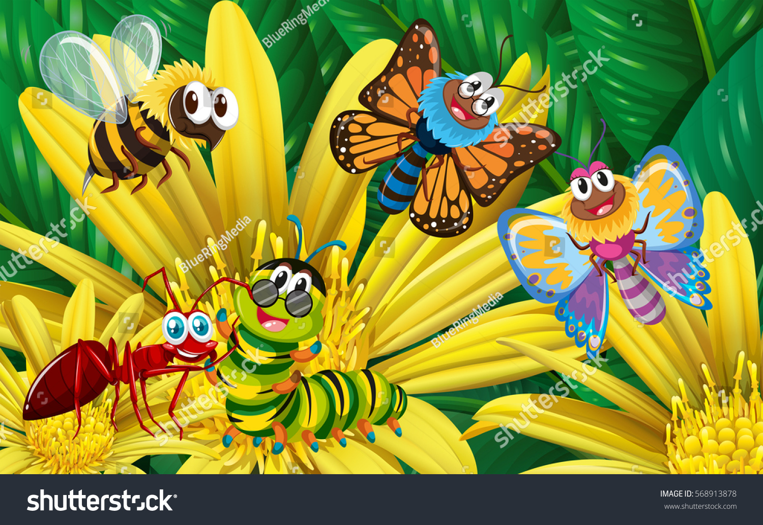 Different types insects on yellow flower stock vector hd royalty different types of insects on yellow flower illustration mightylinksfo